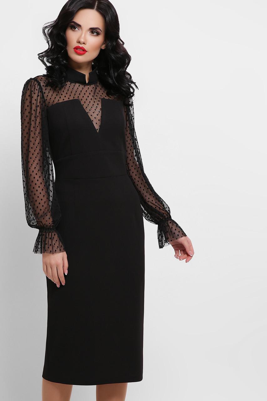 Платье с прозрачными рукавами черное Лукьяна