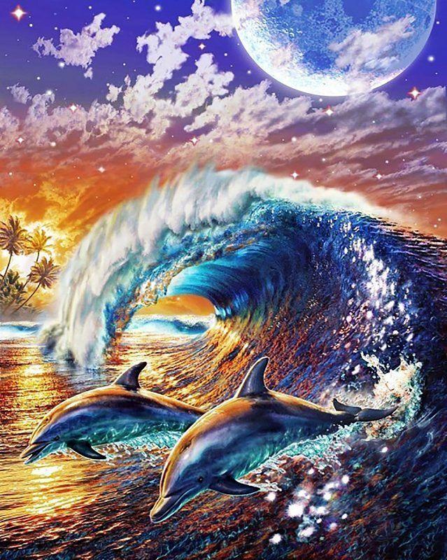 КДИ-0494 Набор алмазной вышивки Пара дельфинов