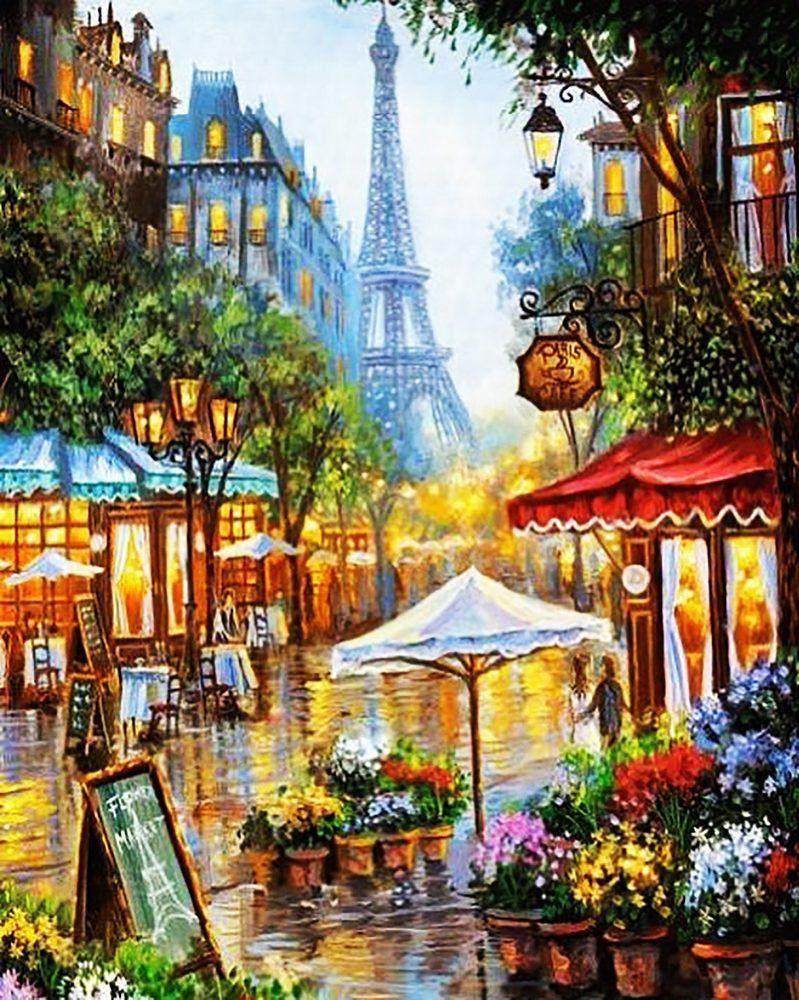 КДИ-0520 Набор алмазной вышивки Париж. Цветочная улица