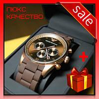 Часы наручные мужские Emporio Armani AAA Gold-Brown Silicone коричневые
