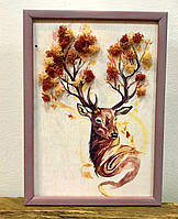 Картина декоративная с  натуральным мхом Олень А4.
