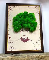 """Картина декоративная с  натуральным мхом """"Прическа"""" А4.Творческий набор."""
