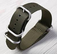 Зеленый нейлоновый ремешок ЗУЛУ для часов со стальной пряжкой