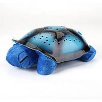 🔝 Светильник звездное небо, ночник проектор Черепаха, со звуком, цвет - синий. 20х29 см | 🎁%🚚