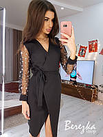 Платье на запах с рукавами звездочки BRQ1226