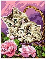 Детская раскраска по номерам Цветочные котята Sequin Art SA1041