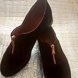 Женские туфли из натуральной замши шоколадного цвета, фото 2