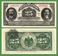 Мексика/Mexico 25 Centvos 1915 Pick S1069 UNC