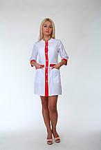 Молодежный медицинский халат белый с красной вставкой