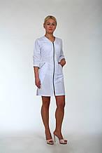 Женский халат медицинский белый на молнии