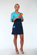 Молодежный цветной медицинский халат с вышивкой