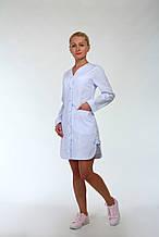 Белый медицинский халат коттон  длинный рукав