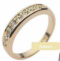 Позолоченное 18К кольцо, элегантное утонченное классическое модное кольцо, размер 18, 17