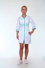 Женский халат медицинский с зелеными вставками