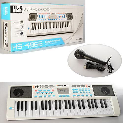 Синтезатор детский 49 клавиш HS4966-68B микрофон USBшнур МР3