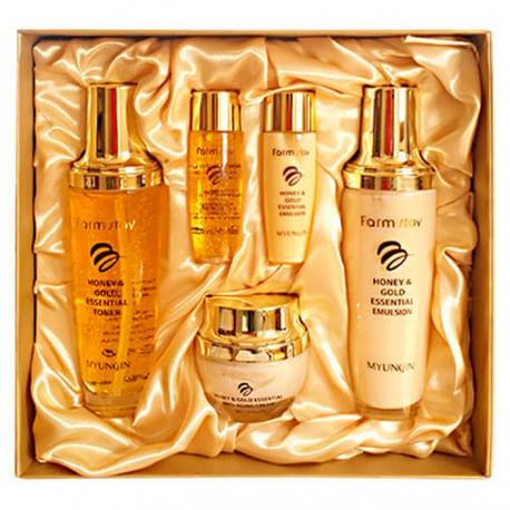 Набір косметики для обличчя з медом і золотом FarmStay Honey & Gold Essential Skin Care 3 set