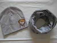 Шарф-хомут трикотажный детский (1-5 лет) звезды+смайлы серый