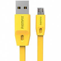 Кабель USB - micro USB Remax Full Speed, жовтий, плоский, 2 метра, мікро юсб шнур для зарядки 2м, фото 2