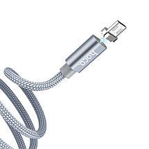 Магнітний кабель USB - micro USB Hoco U40A, сірий, 1 метр, мікро юсб шнур для зарядки, магнітна зарядка, фото 2