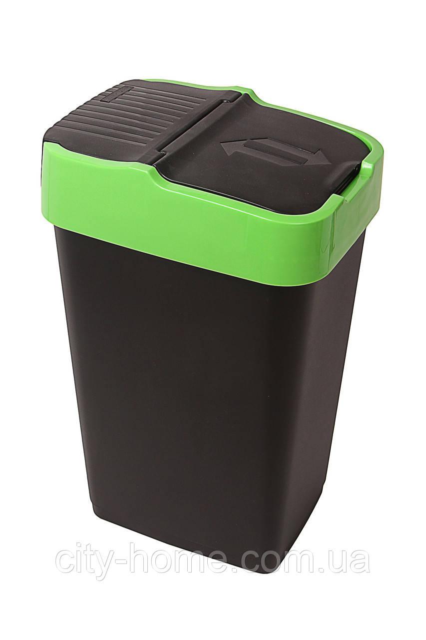Ведро для мусора с крышкой черное 18 л, Heidrun REFUSE Push&Up, 29х23х43 см
