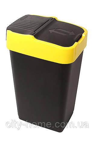 Ведро для мусора с крышкой черное 35л, Heidrun REFUSE Push&Up, 33х26х51 см, фото 2