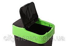 Ведро для мусора с крышкой черное 35л, Heidrun REFUSE Push&Up, 33х26х51 см, фото 3