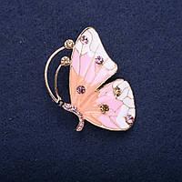 Брошь Бабочка с сиреневыми стразами розовый и белый цвет эмали 45х32мм желтый металл