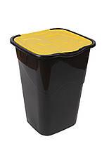 Ведро для мусора с крышкой черное 50 л, Heidrun RECYCLING, 40х36,5х53,5 см, фото 2