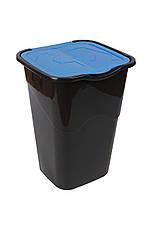 Ведро для мусора с крышкой черное 50 л, Heidrun RECYCLING, 40х36,5х53,5 см, фото 3