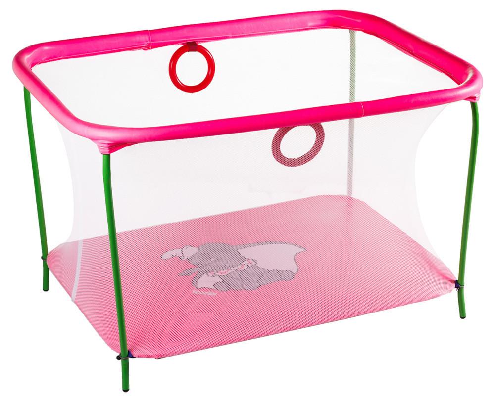 Манеж Qvatro LUX-02 мелкая сетка розовый (слон dumbo) 622056
