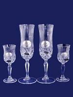Хрустальный набор из двух свадебных бокалов для шампанского и двух рюмок 130\70 мл