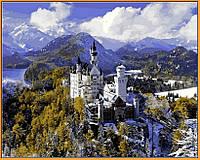 Картина раскраска Замок Нойшванштайн зимой (в раме) DIY Babylon Premium