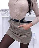 Женская зимняя теплая юбка с поясом твид серый елочка и бежевый елочка S M L