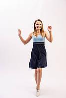 Женское летнее платье майка из хлопкового трикотажа синего цвета