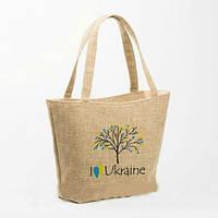"Женская тканевая сумка лодочка с вышивкой ""I love Ukraine"", фото 1"