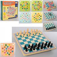 Игра 4 в 1 (шашки, шахматы, фишки, карточки), MD 2211