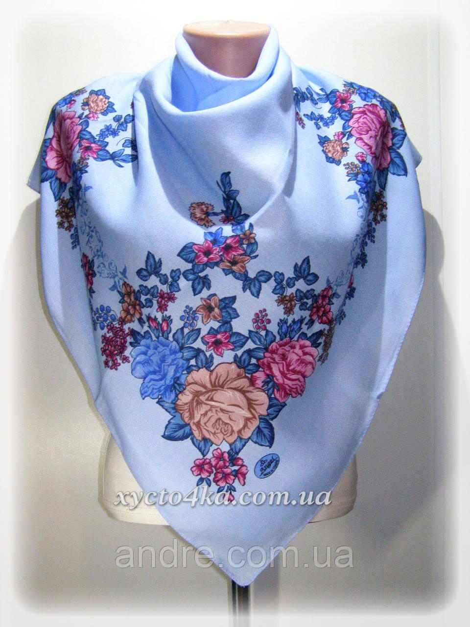 Кашемировые платки Флора, голубой