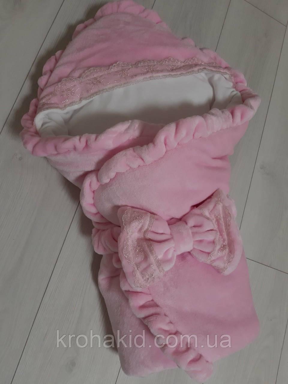 Зимний плюшевый конверт-одеяло на выписку , конверт на выписку из роддома