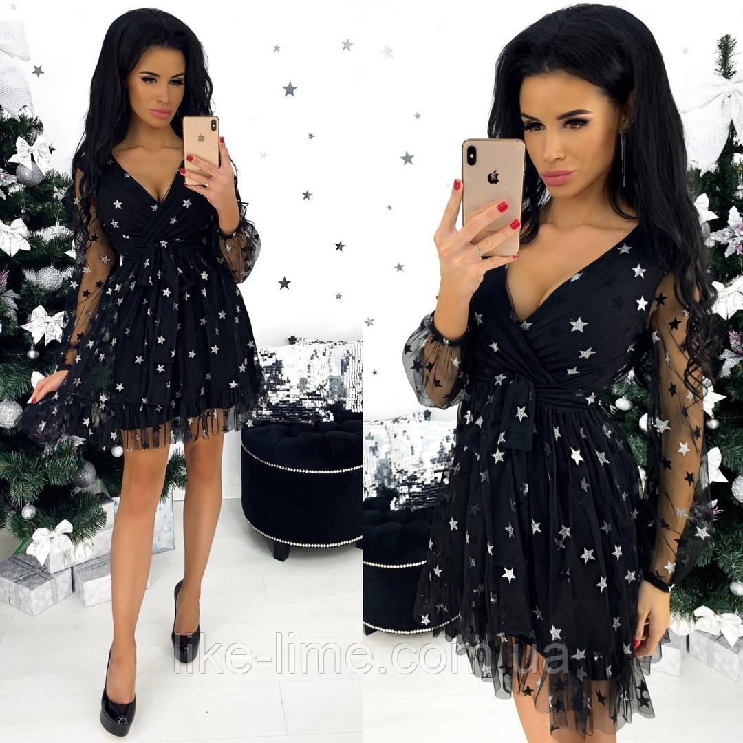 Праздничное новогоднее платье со звёздами