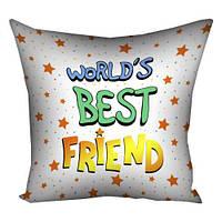 Подушка с принтом 30х30 см Worlds best friend