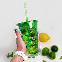 Стакан для напитков с соломинкой Череп, зеленый