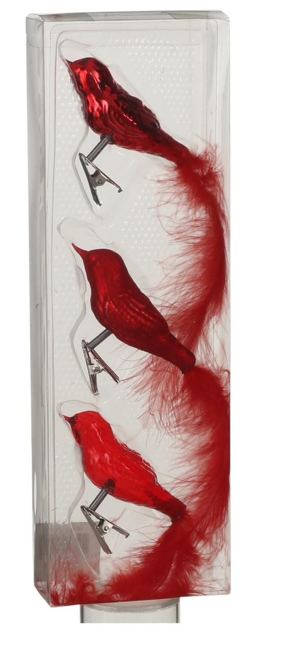 Украшение клипса декоративная Птичка, компл. 3 шт., цвет красный, House of Seasons