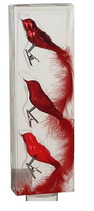 Украшение клипса декоративная Птичка, компл. 3 шт., цвет красный, House of Seasons, фото 2