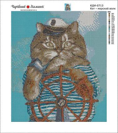 КДИ-0713 Набор алмазной вышивки Кот. Морской волк, фото 2