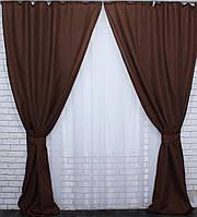 Ткань для штор лен-мешковина, цвет шоколадный