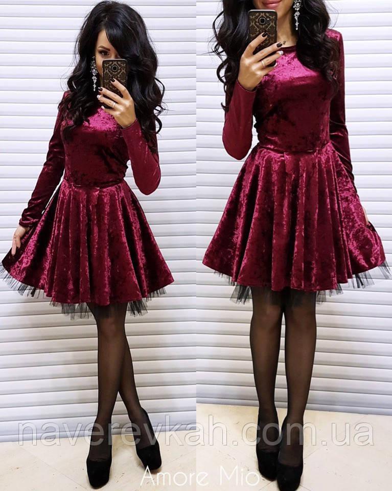Женское праздничное новогоднее нарядное платье с велюра фатин пышное бордо беж черный зеленый 42 44