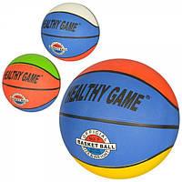 Мяч баскетбольный размер 7 (резина, 8 панелей, рисунок-наклейка, 520г), VA 0002 VA-0002
