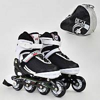 Ролики Best Roller бело-черные, размер 35-38, колеса PU, в сумке - 185917