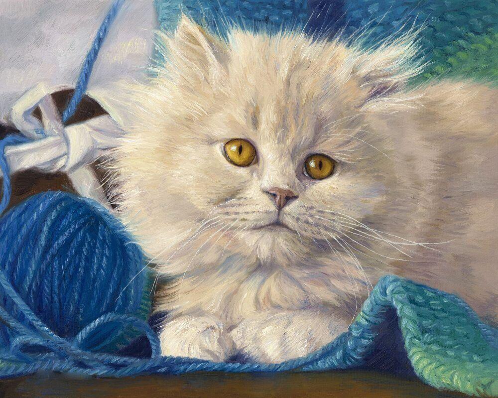 КДИ-0722 Набор алмазной вышивки Ласковый котенок. Художник Lucie Bilodeau