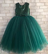Зеленое детское пышное платье Ёлочка-Пайетки-Бант